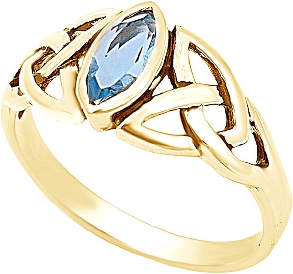 Jewel Zone US Marquise Cut Simulated Blue Aquamarine Celtic Desi