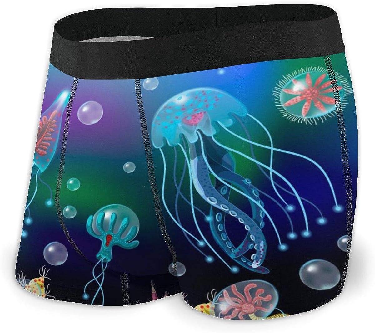 Mens Boxer Briefs Jellyfish Ocean World Low Rise Trunks Breathable Bikini Underpants Boys Underwear