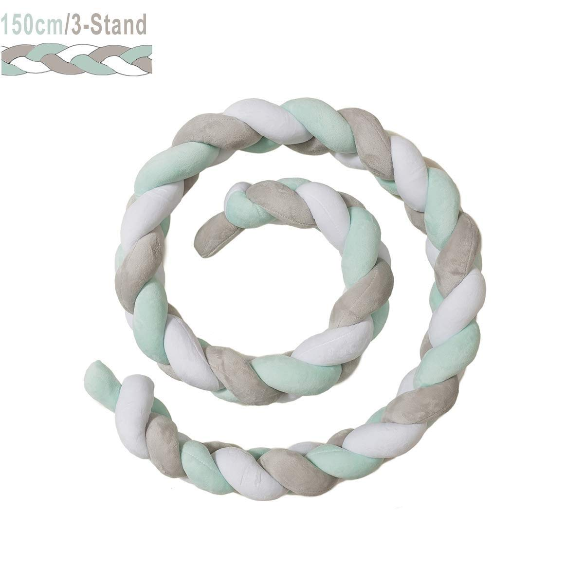Color : Green+White+Gray, Size : 400cm ZIYEYE Handmade Braided Cot Bumper Baby Head Guard Bumper Knot Braid Pillow Cushion Decorative Pillow For Nursery Crib