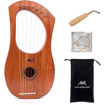 Aklot Lyre Harpe 7 cordes en acajou avec clé de réglage et sac de transport noir