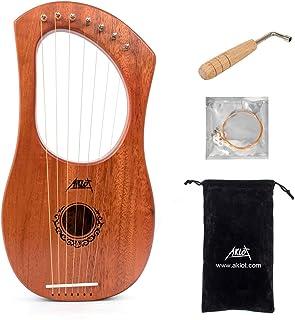 Aklot Grabado Arpa de lira, 7 cuerdas de metal para sillín de hueso, arpa de caoba con llave de afinación y bolsa negra…