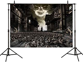 Allenjoy 7x5t Halloween Death Street Rats Backdrop Dark Grim Zombies Skull Scary Plague Photography Background Party Supplies Decoration Cake Table Banner Photo Booth Studio Props