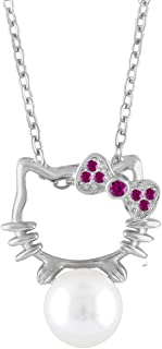 c05b093f9 Cat Necklace Jewelry Hello Kitty Sterling Silver CZ Cultured Freshwater  Pearl Adjustable Chain (Red)