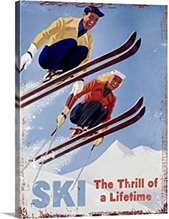 Ski The Thrill of a Lifetime Vintage Advertising Poster Canvas Wall Art Print, 30