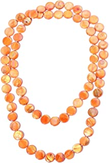 Beads Strand Endless Necklace for Women Orange Shell Jewelry Gift 46