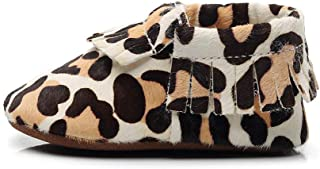 FAYUEKEY Baby Moccasins for Girls & Boys Soft Sole Leopard Print First Walkers Toddler Genuine Leather Shoes