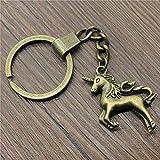 JQFEN Llavero Metal Titular Cadena Gran Tamaño 3D Lucky Corner Horse 37X28Mm