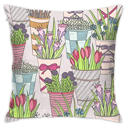 AOOEDM Lovely Flower Customized Square Woven Decorative Cotton Linen Single Pillowcase Cushion Cover for Sofa Sofa Or Bed Set 18x18 Inches