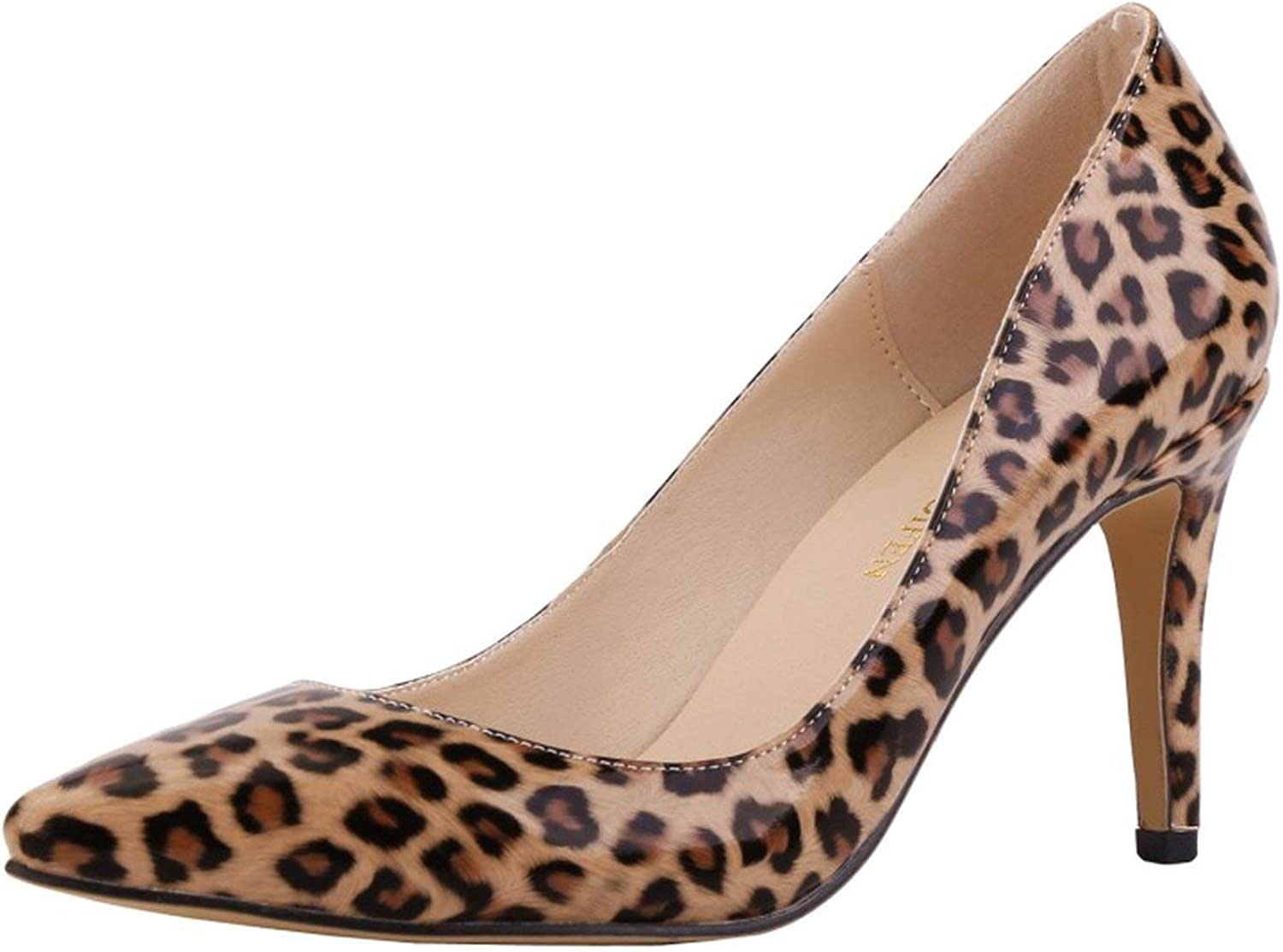 Coolemon Fashion Women Pumps Pointed Toe high Heels shoes Woman Party Wedding pu Leather Ladies Heels shoes Slip on Leopard