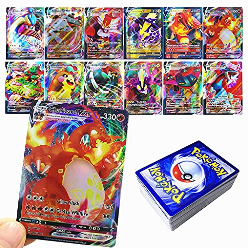 WANPENG Tarjetas para Pokemon GX V Vmax, Pokemon Trading Cards, juego interactivo de cartas de batalla, regalo para niños, 60 piezas (18 VMAX-Card + 42 V-Card)