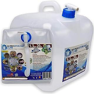 WaterStorageCube BPA کانتینر آب قابل جمع آوری رایگان با Spigot ، Camping Water Stack Carrier Carpack Backpack & Survival Kid ، کوله پشتی پیاده روی و بقا ، کیت مخصوص حمل آب FDA قابل حمل 1.3 / 2.6 / 5.3 گالن