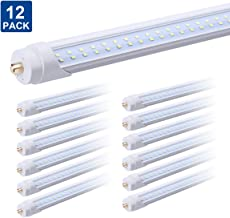 8FT LED Tube Light Double Row 65W Replacement 150W Fluorescent Lamp Shop Light Bulb, Single Pin FA8 Base Dual-Ended Power Cold White Clear Cover, AC 85-277V 12 Pack