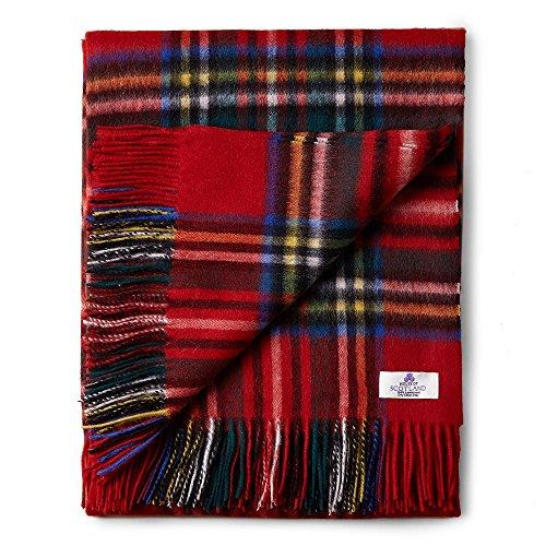 House of Edinburgh Royal Stewart Tagesdecke aus 100 % Lammwolle, sehr weich, Tartanmuster