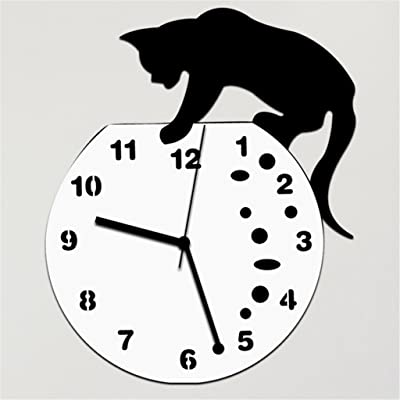 Modern Cartoon Wall Clock Acrylic Creative Black Cat Simple Girl Child Decoration Living Room Bedroom Mute