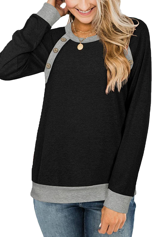 PINKMSTYLE Womens Button Raglan Long Sleeve Buffalo Plaid Shirts Color Block Crewnekck Sweatshirts Tunic Tops