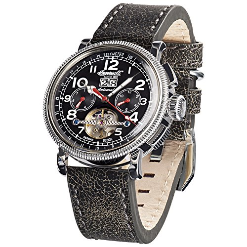 Ingersoll Herren Chronograph Automatik Uhr mit Leder Armband IN1827BKWH