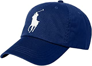 Polo Ralph Lauren Men`s Cotton Chino Baseball Cap with Adjustable Leather Strap (Holiday Navy (4004)/White One Size)