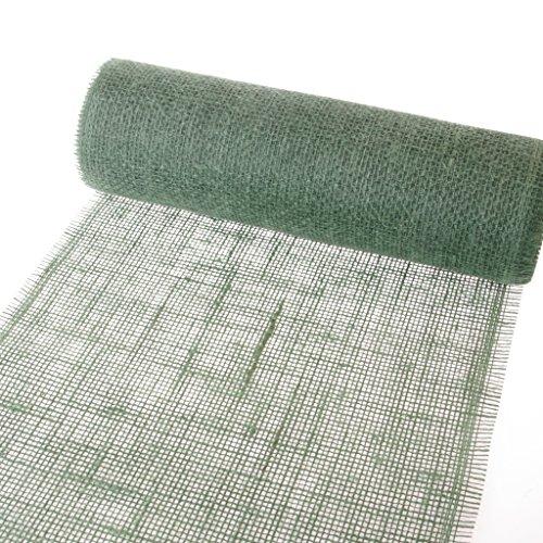 De Toile de jute Chemin de table col. 008 – Forest Green – 300 mm/5 m + 100 Cœurs décoratifs de – 29300–300–5 gratuit 008