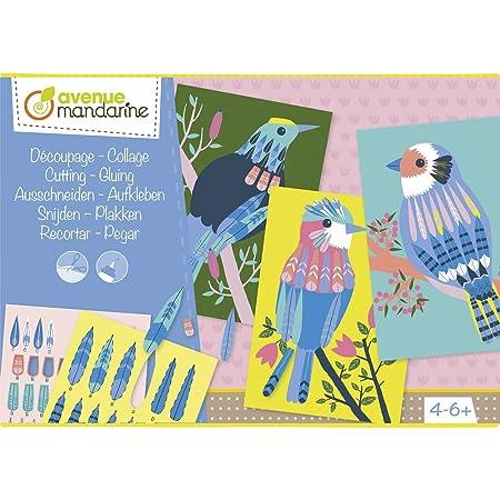 Avenue Mandarine KC078C - Une boite créative Découpage collage comprenant 5 planches pré-imprimées 21x15 cm, 4 planches d'éléments à découper et de la colle
