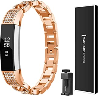 Watbro Compatible with Fitbit Alta/Alta HR Band, Bling Jewelry Metal Stainless Steel Bracelet Replacement Bands Wristband Accessories Strap for Women, Rose Gold