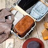 Elviros Kulturbeutel PU-Leder für Herren große wasserdichte Reise-Kulturtasche Waschtasche im Bade Kosmetiktasche mit einem Nass-Trockenbeutel, Braun - 5