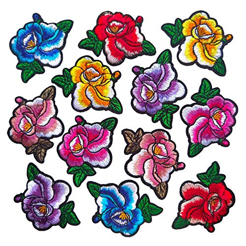 Qingxii Decorr Assorted Colorful Flower Patches Sewing on/Iron on Embroidered Patches Girl Patches Clothes Dress Hat Pants Shoes Curtain Sewing Decorating DIY Craft Embarrassment Applique Patches