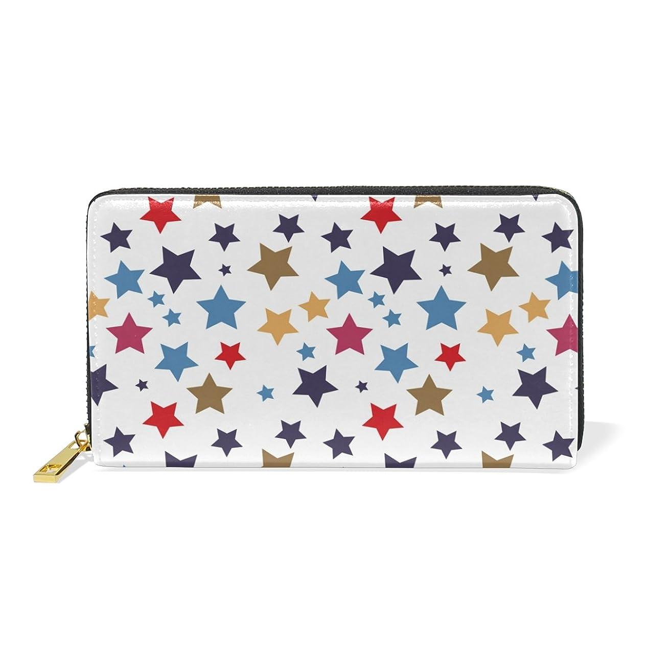 ハンサム隔離エキスパートマキク(MAKIKU) 長財布 レディース 本革 大容量 ラウンドファスナー カード12枚収納 プレゼント対応 星柄 かわいい ホワイト