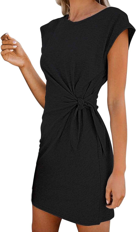 LaSuiveur Women's Casual Bodycon Tie Waist Cap Sleeve Cotton T Shirt Dress