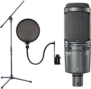 Audio Technica AT2020USB+ Plus Condenser Microphone with Boom Stand and Pop Filter