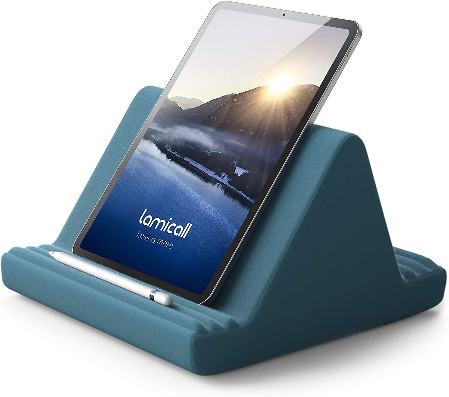 Tablet Pillow Stand, Pillow Soft Pad for Lap - Lamicall Tablet Holder Dock for Bed with 6 Viewing Angles, for iPad Pro 9.7, 10.5,12.9 Air Mini 4 3, Kindle, Galaxy Tab, E-Reader - Blackish Green