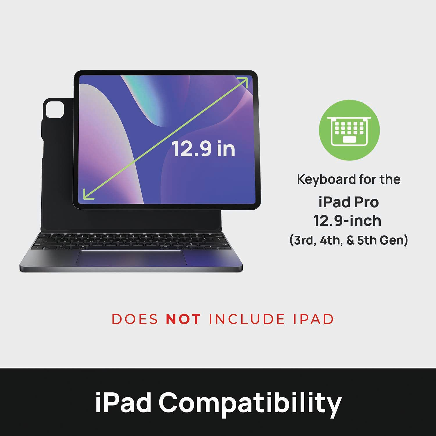 Brydge 12.9 MAX+ Wireless Keyboard Case with Multi-Touch Trackpad for iPad Pro 12.9-inch (3rd, 4th & 5th Gen), Integrated Magnetic SnapFit Case   Space Gray Keyboard with Black Case