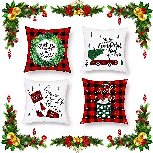 COMPY Plaid Red Throw Covers 4pcs Christmas Cushion Covers, Decorative Couch Pillow Cases for Cushion