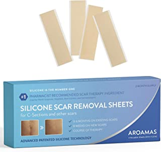 "Aroamas Professional Silicone Scar Removal Sheets for Scars Caused by C-Section, Surgery, Burn, Keloid, Acne, and more, Soft Adhesive Fabric Strips, Drug-Free, 5.7×1.57"", 4 Reusable pcs (2 Month Supply)"