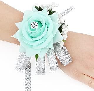 FAYBOX Velvet Open Rose Silvery Bling Ribbon Rhinestone Stretch Bracelet Wedding Prom Wrist Corsage Hand Flower Pack of 2 Mint