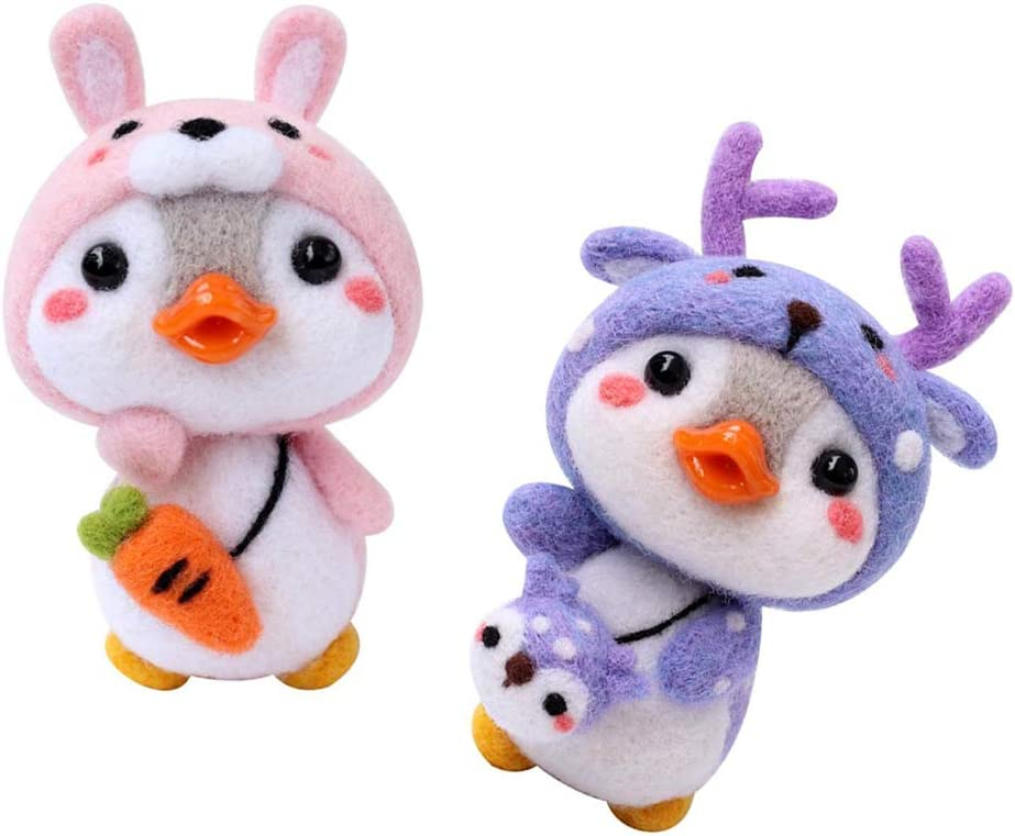 menolana 2 Sacramento Mall 2021 new Sets Cute Penguin Kits Craft Felting Roving Tutorials