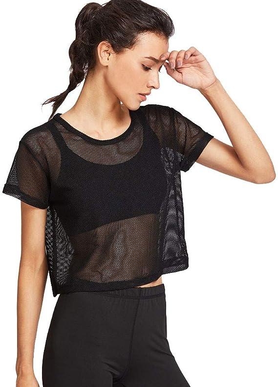 JURTEE Camiseta para Mujer Solid Color Malla Deportiva Transparente Tops De Manga Corta Blusa Ultra Delgado De Verano