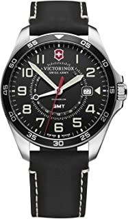 Victorinox FieldForce GMT Black dial, Black Leather Strap