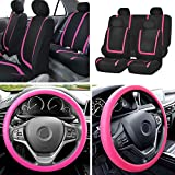 FH Group FB032114 Unique Flat Cloth Full Set Car Seat Covers w. Silicone Steering Wheel Cover, Pink/Black Color- Fit Most Car, Truck, SUV, or Van