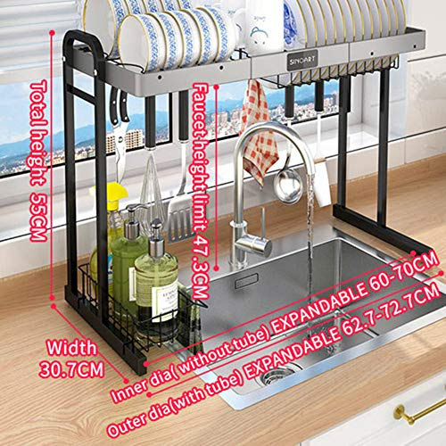 XM&LZ Kitchen Dish Drying Rack Over Sink,Expandable Storage Drainer Plate Rack,Large Capacity Utensil Holders with Cutboard Knife Heads C M