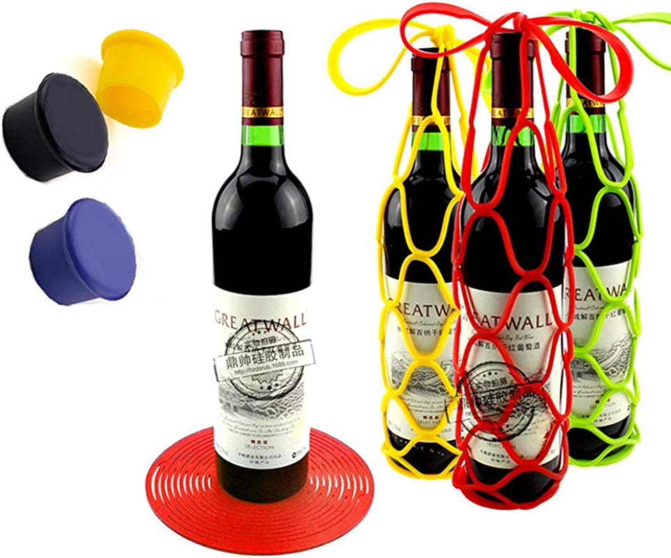 3Pcs Silicone Wine Bottle Carrier Water Bottle Tote Bags With 3pcs Bottle Stopper Cup Coaster Wine Bottle Mesh Basket For Picnic Red Green Yellow TA BEST
