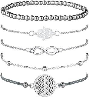 Jbniuay Juego de 5 Pulseras de Plata para Mujer, con símbolo de Infinito, Pulsera de Bolas, Pulsera de Cuerda con Adorno, ...