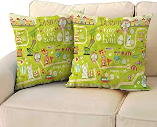 Easter Breathable Pillowcase Egg Hunt with Bunny with Hidden Zipper W23 x L23