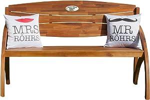 Geschenke 24 Hochzeitsbank mit Gravur aus Eukalyptus-Holz Haida – Hochzeitsgeschenk mit Wunschnamen und Datum personalisiert