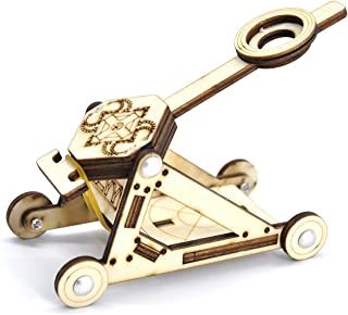 CZYY DIY Wood Catapult Kit Powered by Rubber Band Office Stress Relief Gadgets Great Desk Fidget Toy for Adults & Kids