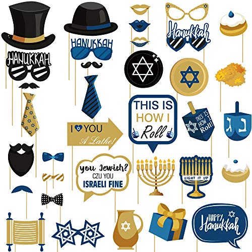 35pcs Hanukkah Photo Booth Props for Chanukah Party Supplies Hannukah Decorations