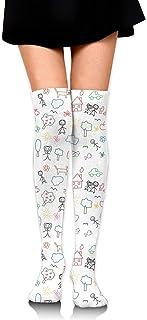 gong, Calcetines altos de la rodilla de la muchacha de las mujeres coloridos niños que dibujan la familia muslo largo del tubo medias 60 m/23.6 pulgadas