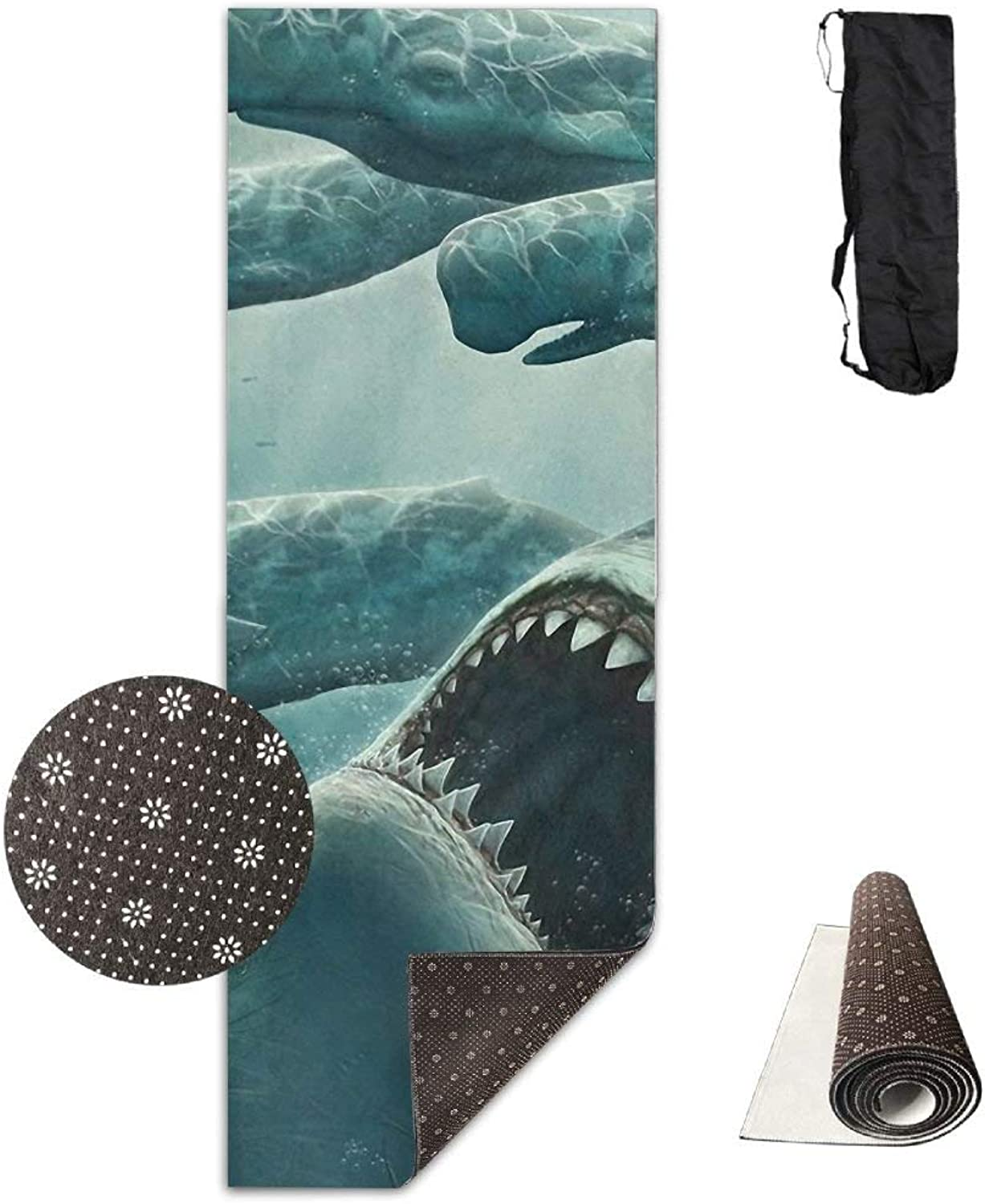 Shark and Whale Sea Creatures Yoga Mat  Advanced Yoga Mat  NonSlip Lining  Easy to Clean  LatexFree  Lightweight and Durable  Long 180 Width 61cm