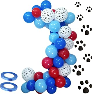 Elepplrty 30.48cm Paw Latex Balloons and Red Balloon Blue Balloon-Pack 50