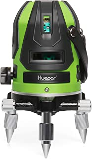 Huepar Green Beam Multi-Line Laser Level - Four Vertical and One Horizontal Lines with Down Plumb Dot - Alignment Self-leveling Laser Tool - 360° Rotating Base, Hard Carrying Case Included 6141G