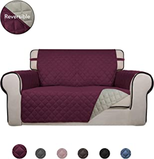 PureFit Reversible Quilted Sofa Cover, Water Resistant Slipcover Furniture Protector, Washable Couch Cover with Non Slip Foam and Elastic Straps for Kids, Dogs, Pets (Loveseat, Wine/Beige)
